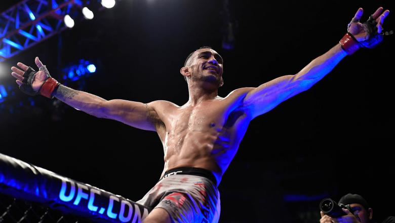 Tony Ferguson celebrates after his submission victory over Kevin Lee in their interim UFC lightweight championship bout during the UFC 216 event inside T-Mobile Arena on October 7, 2017 in Las Vegas, Nevada. (Photo by Brandon Magnus/Zuffa LLC/Zuffa LLC via Getty Images)