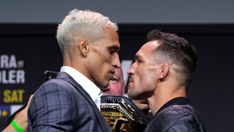 Charles Oliveira and Michael Chandler face off during the UFC 262 press conference at George R. Brown Convention Center on May 13, 2021 in Houston, Texas. (Photo by Josh Hedges/Zuffa LLC)