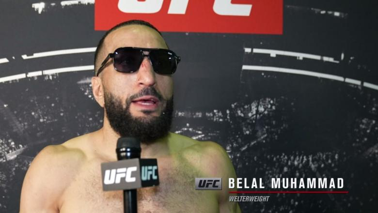Belal Muhammad reacts withUFC.comafter his unanimous decision victory over welterweight Demian Maiaat UFC 263: Adesanya vs Vettori 2 on June 12, 2021