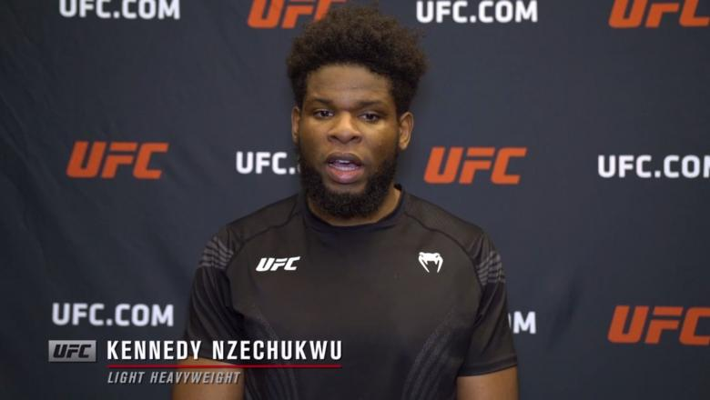 Kennedy Nzechukwu reacts withUFC.comafter his TKOvictory over light heavyweightDanilo Marques at UFC Fight Night: Gane vs Volkov on June 26, 2021.