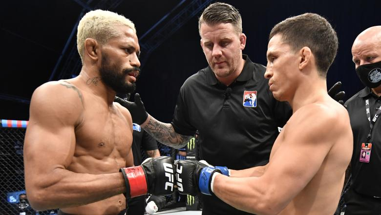 Deiveson Figueiredo of Brazil and Joseph Benavidez face off prior to their UFC flyweight championship bout during the UFC Fight Night event inside Flash Forum on UFC Fight Island on July 19, 2020 in Yas Island, Abu Dhabi, United Arab Emirates. (Photo by Jeff Bottari/Zuffa LLC via Getty Images)