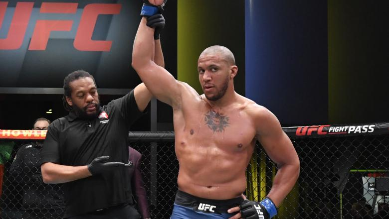 Ciryl Gane of France reacts after his victory over Jairzinho Rozenstruik of Suriname in a heavyweight bout during the UFC Fight Night event at UFC APEX on February 27, 2021 in Las Vegas, Nevada. (Photo by Jeff Bottari/Zuffa LLC)