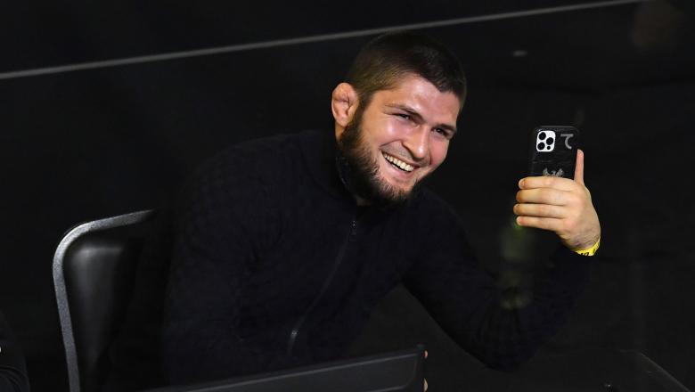 Khabib Nurmagomedov look on during the UFC Fight Night event at UFC APEX