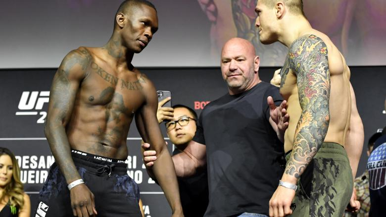 Israel Adesanya of Nigeria and Marvin Vettori of Italy face off during the UFC 263 ceremonial weigh-in at Gila River Arena on June 11, 2021 in Glendale, Arizona. (Photo by Mike Roach/Zuffa LLC)