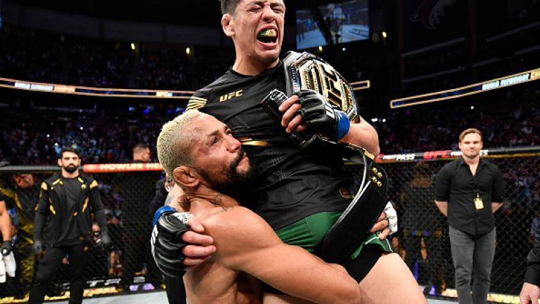 Brandon Moreno of Mexico reacts after submitting Deiveson Figueiredo of Brazil to win the UFC flyweight championship fight during the UFC 263 event at Gila River Arena on June 12, 2021 in Glendale, Arizona. (Photo by Jeff Bottari/Zuffa LLC)