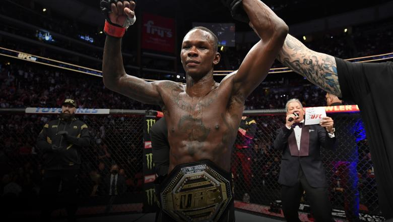 Israel Adesanya of Nigeria reacts after his victory over Marvin Vettori of Italy in their UFC middleweight championship fight during the UFC 263 event at Gila River Arena on June 12, 2021 in Glendale, Arizona. (Photo by Jeff Bottari/Zuffa LLC)