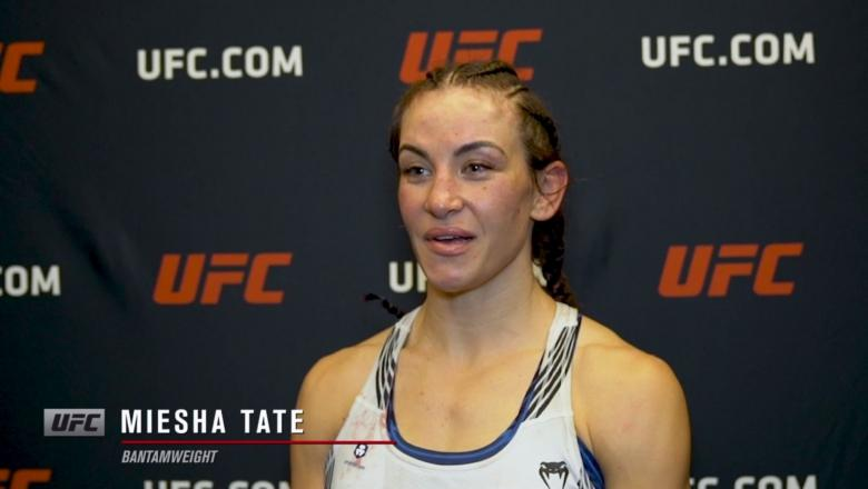 Miesha Tate reacts withUFC.comafter her TKO victory over bantamweightMarion Reneauat UFC Fight Night: Makhachev vs Moises on July 17, 2021.