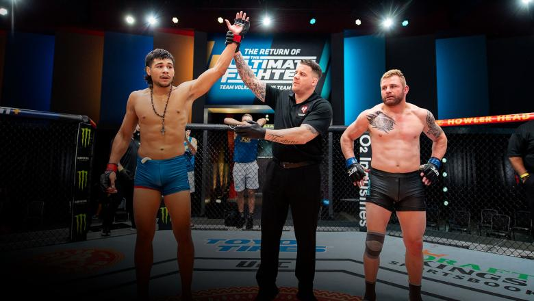 Middleweight Gilbert Urbina wins his fight on The Return of The Ultimate Fighter. (Photo by Chris Unger/Zuffa LLC)