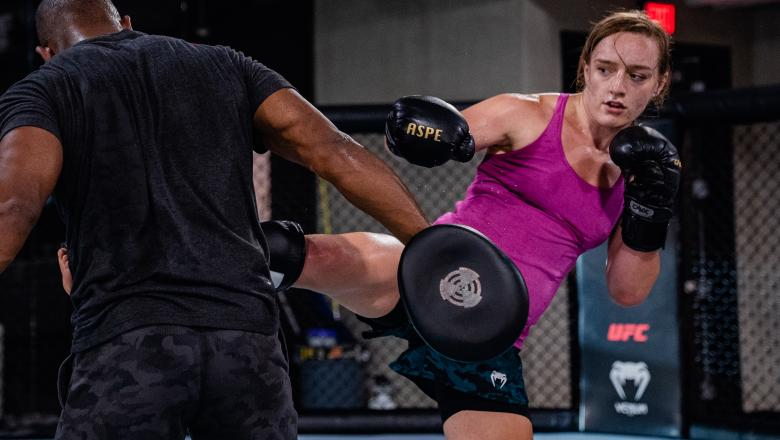 Aspen Ladd trains at the UFC Performance Institute in Las Vegas, Nevada, on July 21, 2021. (Photo by Zac Pacleb)