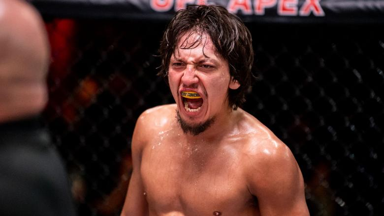 Bantamweight Ricky Turcios reacts after his victory in the semifinals on The Return of The Ultimate Fighter. (Photo by Chris Unger/Zuffa LLC)