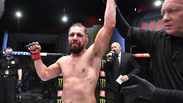 Chris Gruetzemacher reacts after his victory over Rafa García of Mexico in a lightweight fight during the UFC Fight Night event at UFC APEX on July 31 2021 in Las Vegas Nevada. (Photo by Chris Unger/Zuffa LLC)