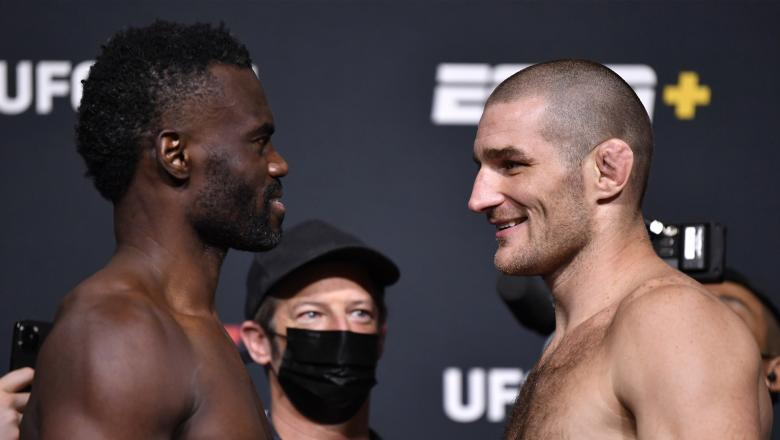Uriah Hall of Jamaica and Sean Strickland face off during the UFC Fight Night weigh-in at UFC APEX on July 30, 2021 in Las Vegas, Nevada. (Photo by Chris Unger/Zuffa LLC)