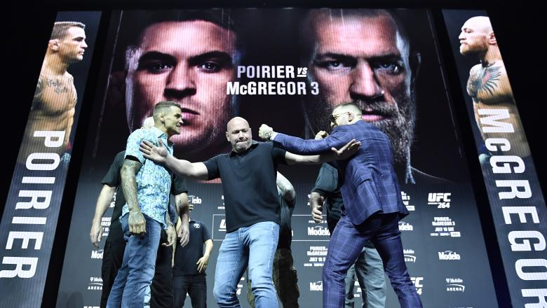 Dustin Poirier and Conor McGregor of Ireland face off during the UFC 264 press conference at T-Mobile Arena on July 08, 2021 in Las Vegas, Nevada. (Photo by Chris Unger/Zuffa LLC)