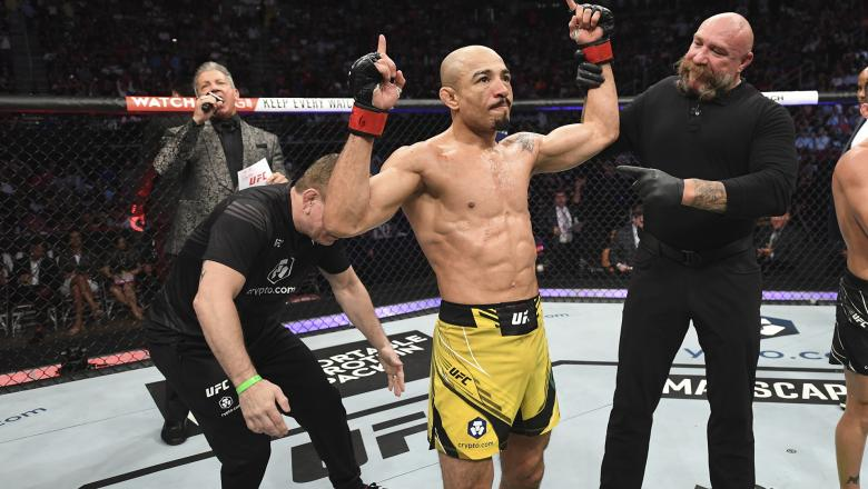 Jose Aldo of Brazil reacts after defeating Pedro Munhoz of Brazil in their bantamweight bout during the UFC 265 event at Toyota Center on August 07 2021 in Houston Texas. (Photo by Josh Hedges/Zuffa LLC)