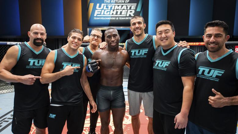 Team Ortega celebrates Tresean Gore's victory over Gilbert Urbina on the semi-finals of The Return Of The Ultimate Fighter (photo by Chris Unger/Zuffa LLC)