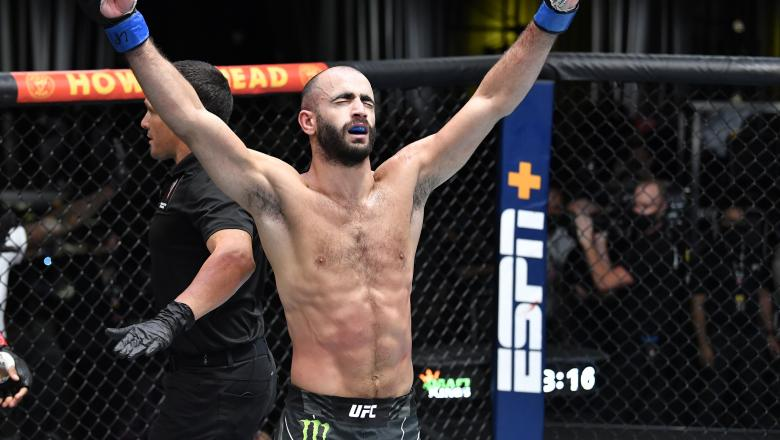 Giga Chikadze of Georgia reacts after his knockout victory over Edson Barboza of Brazil in a featherweight fight during the UFC Fight Night event at UFC APEX on August 28 2021 in Las Vegas Nevada. (Photo by Chris Unger/Zuffa LLC)
