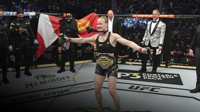 Valentina Shevchenko of Kyrgyzstan reacts after defeating Jessica Andrade of Brazil in their UFC women's flyweight championship bout during the UFC 261 event at VyStar Veterans Memorial Arena on April 24, 2021 in Jacksonville, Florida. (Photo by Josh Hedges/Zuffa LLC)