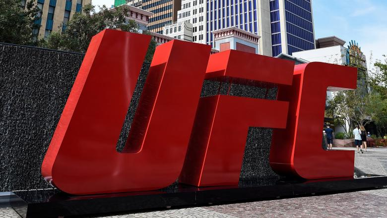 A general view of the UFC letters outside of New York New York Hotel and Casino on July 8, 2017 in Las Vegas, Nevada. (Photo by Brandon Magnus/Zuffa LLC)