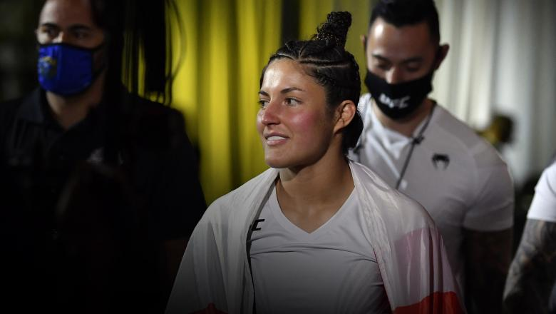 Loopy Godinez of Mexico prepares to fight Jessica Penne in a strawweight fight during the UFC Fight Night event at UFC APEX on April 17, 2021 in Las Vegas, Nevada. (Photo by Chris Unger/Zuffa LLC)