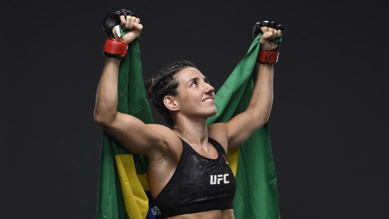 Marina Rodriguez of Brazil poses for a portrait after her victory during the UFC 257 event inside Etihad Arena on UFC Fight Island on January 23 2021 in Abu Dhabi UAE (Photo by Mike Roach/Zuffa LLC)