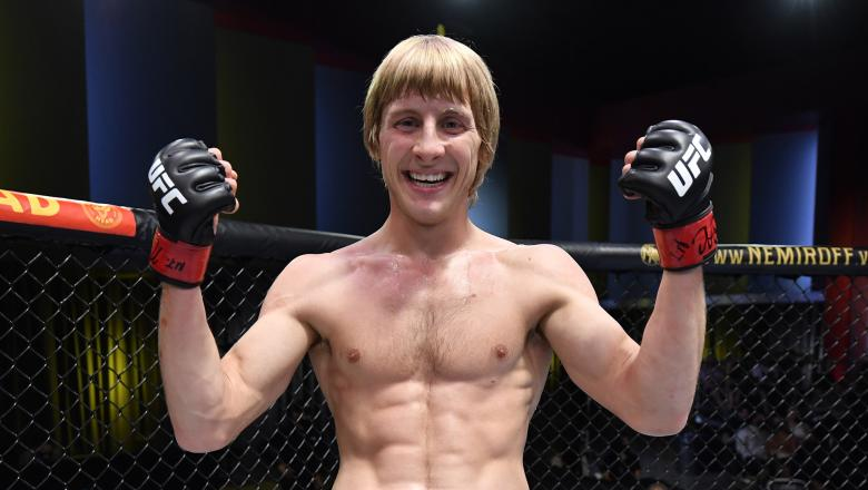 Paddy Pimblett of England reacts after knocking out Luigi Vendramini of Brazil in their lightweight fight during the UFC Fight Night event at UFC APEX on September 04 2021 in Las Vegas Nevada. (Photo by Jeff Bottari/Zuffa LLC)
