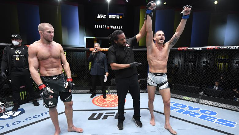 Krzysztof Jotko of Poland celebrates his victory over Misha Cirkunov of Canada in their middleweight bout during the UFC Fight Night event at UFC APEX on October 02 2021 in Las Vegas Nevada. (Photo by Jeff Bottari/Zuffa LLC)