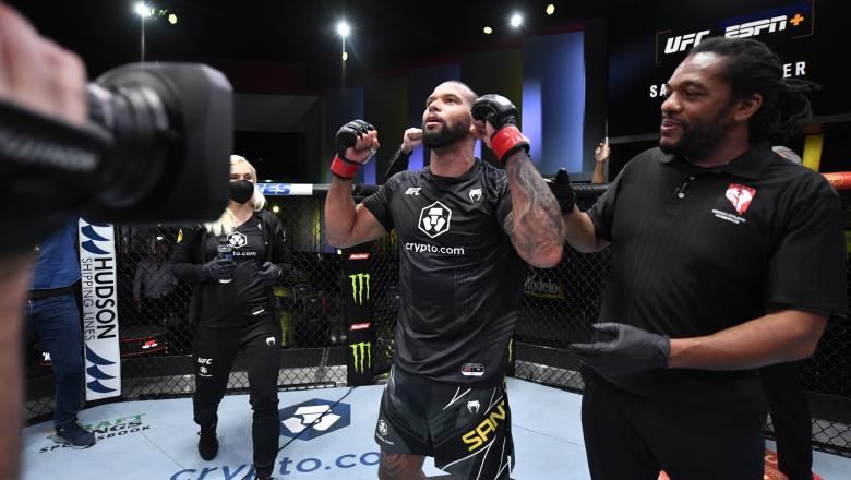 Thiago Santos of Brazil celebrates his victory over Johnny Walker of Brazil in their light heavyweight bout during the UFC Fight Night event at UFC APEX on October 02 2021 in Las Vegas Nevada. (Photo by Jeff Bottari/Zuffa LLC)