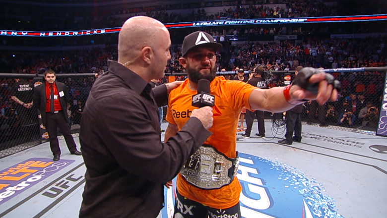 UFC 171 Johny Hendricks Celebrates Win