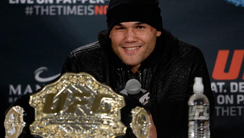 LAS VEGAS, NEVADA - DECEMBER 6:  UFC welterweight champion Robbie Lawler smiles while speaking to the media during the UFC 181 post fight press conference inside the Mandalay Bay Events Center on December 6, 2014 in Las Vegas, Nevada. (Photo by Jeff Botta