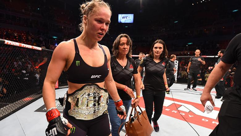 RIO DE JANEIRO, BRAZIL - AUGUST 01:  Ronda Rousey of the United States celebrates her knock out victory over Bethe Correia of Brazil in the first round in their UFC women's bantamweight championship bout during the UFC 190 event inside HSBC Arena on Augus
