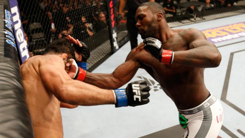 SAN JOSE, CA - JULY 26:  (R-L) Anthony Johnson knocks out Antonio Rogerio Nogueira with a series of uppercuts in their light heavyweight bout during the UFC Fight Night event at SAP Center on July 26, 2014 in San Jose, California.  (Photo by Josh Hedges/Z