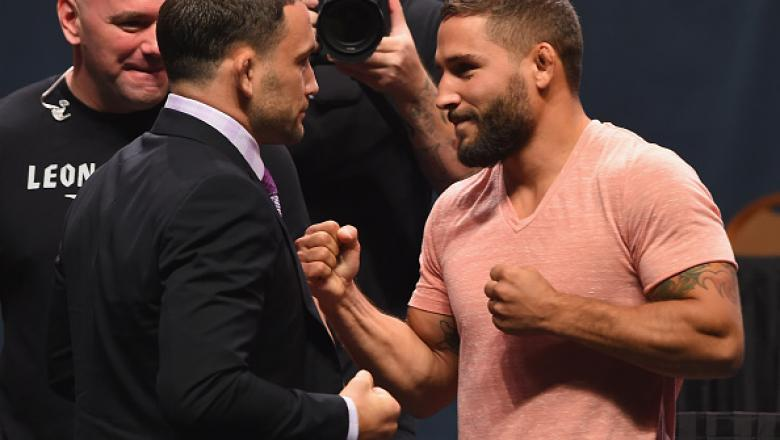 LAS VEGAS, NV - SEPTEMBER 04:  (L-R) Frankie Edgar and Chad Mendes face off during the UFC's Go Big launch event inside MGM Grand Garden Arena on September 4, 2015 in Las Vegas, Nevada.  (Photo by Josh Hedges/Zuffa LLC/Zuffa LLC via Getty Images)