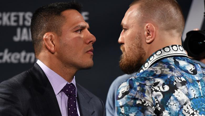 LAS VEGAS, NV - JANUARY 20: (L-R) UFC lightweight champion Rafael dos Anjos and UFC featherweight champion Conor McGregor face off during the UFC 197 on-sale press conference event inside MGM Grand Hotel & Casino on January 20, 2016 in Las Vegas, Nevada.