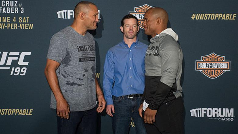 INGLEWOOD, CA - JUNE 02:   (L-R) Dan Henderson and Hector Lombard face off during the UFC 199: Ultimate Media Day at the Forum on June 2, 2016 in Inglewood, California. (Photo by Brandon Magnus/Zuffa LLC/Zuffa LLC via Getty Images)