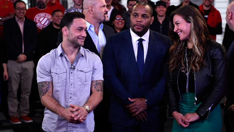 NEW YORK, NY - APRIL 27:  (L-R) Frankie Edgar, UFC Hall of Famer Chuck Liddell, UFC light heavyweight champion Daniel Cormier and UFC women's bantamweight champion Miesha Tate interact during the UFC 200 'Good Morning America' taping at the ABC Times Squa