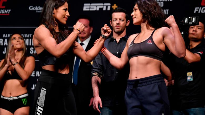 Juliana Pena and Nico Montano face off during the UFC Fight Night weigh-ins