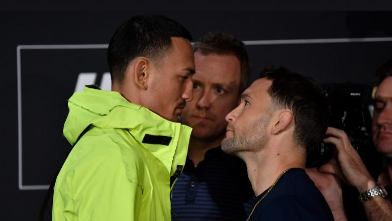 Opponents Max Holloway and Frankie Edgar face off for media during the UFC 240 Ultimate Media Day