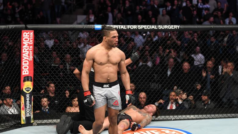 Kevin Lee celebrates his KO victory over Gregor Gillespie in their lightweight bout during the UFC 244