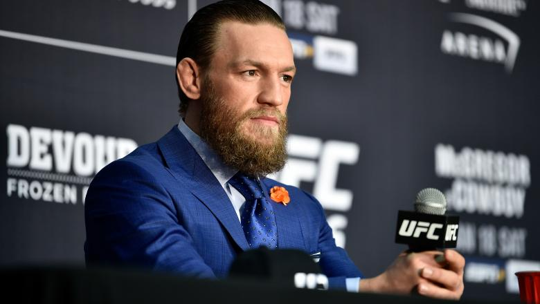 Conor McGregor of Ireland speaks to the media following the UFC 246