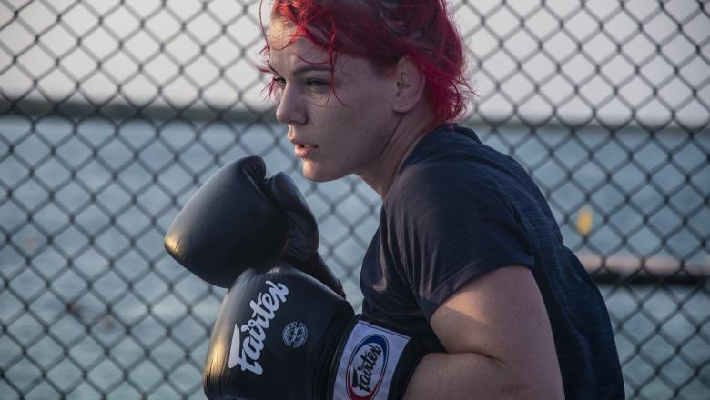 Gillian Robertson training at the Beach Octagon