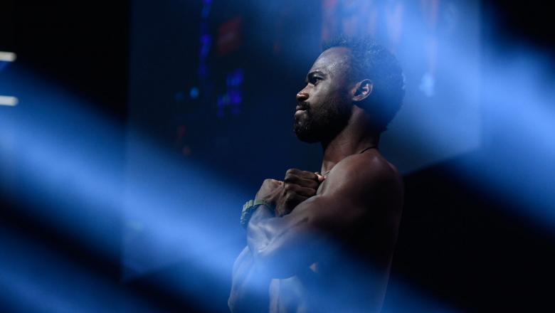 Uriah Hall of Jamaica poses on the scale during the UFC 226 weigh-in inside T-Mobile Arena on July 6, 2018 in Las Vegas, Nevada. (Photo by Brandon Magnus/Zuffa LLC)