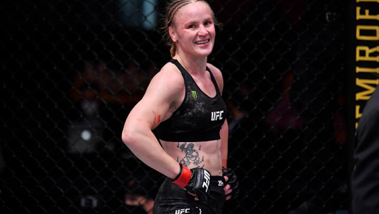Valentina Shevchenko of Kyrgyzstan reacts after her women's flyweight championship bout against Jennifer Maia of Brazil during the UFC 255