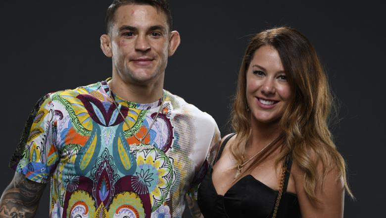 Dustin Poirier poses for a portrait with his wife, Jolie, after his victory over Conor McGregor during the UFC 257 event inside Etihad Arena on UFC Fight Island on January 23, 2021 in Abu Dhabi, United Arab Emirates. (Photo by Mike Roach/Zuffa LLC)