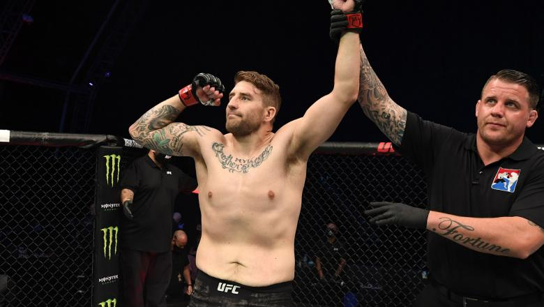 Chris Daukaus celebrates his victory over Rodrigo Nascimento of Brazil in their heavyweight bout during the UFC Fight Night event inside Flash Forum on UFC Fight Island on October 11, 2020 in Abu Dhabi, UAE (Photo by Josh Hedges/Zuffa LLC)