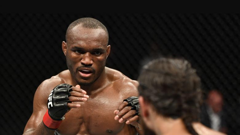 Kamaru Usman of Nigeria battles Jorge Masvidal in their UFC welterweight championship fight during the UFC 251 event at Flash Forum on UFC Fight Island on July 12, 2020 on Yas Island, Abu Dhabi, United Arab Emirates. (Photo by Jeff Bottari/Zuffa LLC)