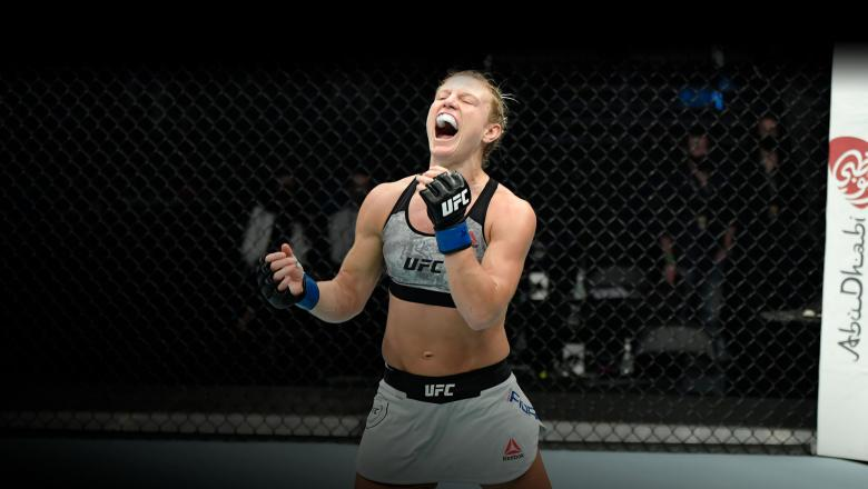 Manon Fiorot of France celebrates after her victory over Victoria Leonardo in a flyweight fight during the UFC Fight Night event at Etihad Arena on UFC Fight Island on January 20, 2021 in Abu Dhabi, United Arab Emirates. (Photo by Jeff Bottari/Zuffa LLC)