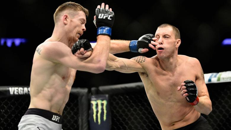 NEW YORK, NY - NOVEMBER 04: James Vick lands a punch against Joe Duffy of Ireland in their lightweight bout during the UFC 217 event at Madison Square Garden on November 4, 2017 in New York City.  (Photo by Jeff Bottari/Zuffa LLC)