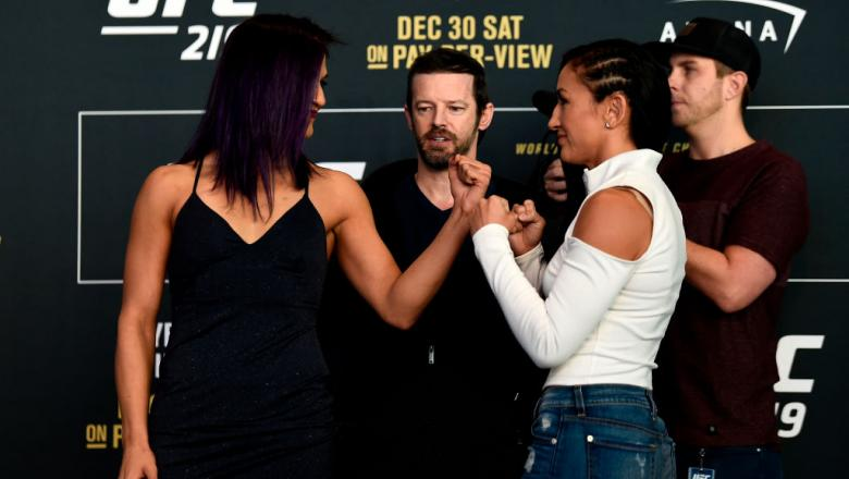 LAS VEGAS, NV - DEC. 28:  (L-R) Cynthia Calvillo and Carla Esparza face off for the media during the UFC 219 Ultimate Media Day inside T-Mobile Arena. (Photo by Jeff Bottari/Zuffa LLC)