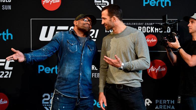 PERTH, AUSTRALIA - FEBRUARY 07:  (L-R) Yoel Romero of Cuba and Luke Rockhold face off during the UFC 221 Press Conference at Perth Arena on February 7, 2018 in Perth, Australia. (Photo by Jeff Bottari/Zuffa LLC/Zuffa LLC via Getty Images)