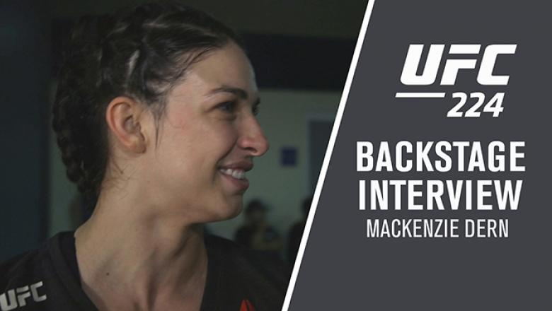 Mackenzie Dern backstage after her victory at UFC 224